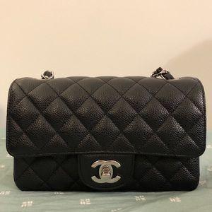 Chanel Black Caviar Mini Flap - Silver Hardware